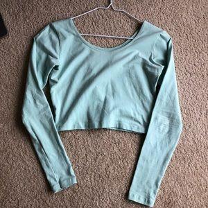 American Apparel green blue crop top long sleeve